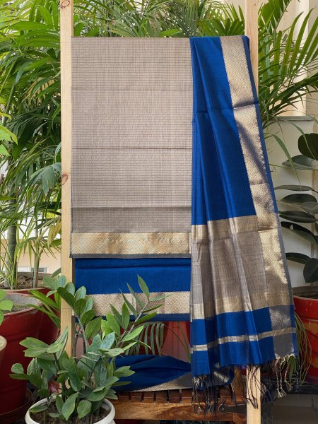 BLUE & GREY MAHESWARI SILK COTTON DUPATTA SET