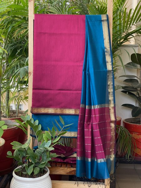 PINK & BLUE MAHESWARI SILK COTTON DUPATTA SET