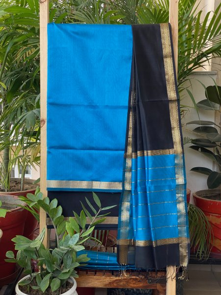 BLACK & BLUE MAHESWARI SILK COTTON DUPATTA SET