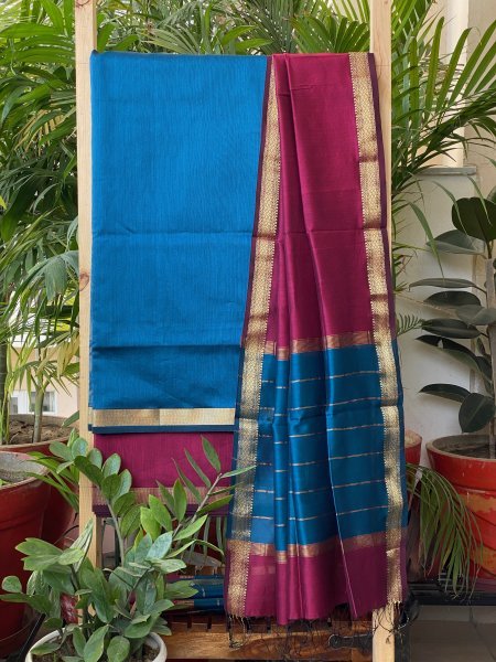 BLUE & PINK MAHESWARI SILK COTTON DUPATTA SET
