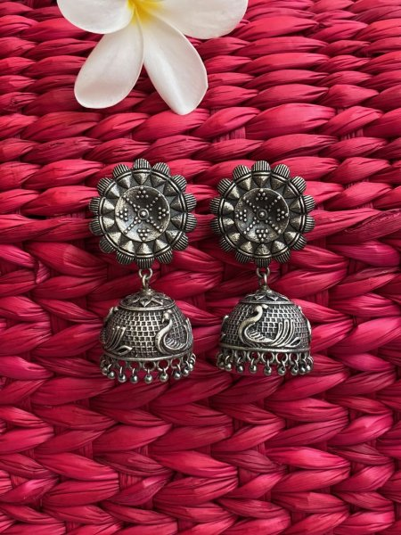 ANTIQUE FLORAL SWAN JHUMKA