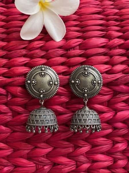 ANTIQUE ROUND EMBOSSED JHUMKA