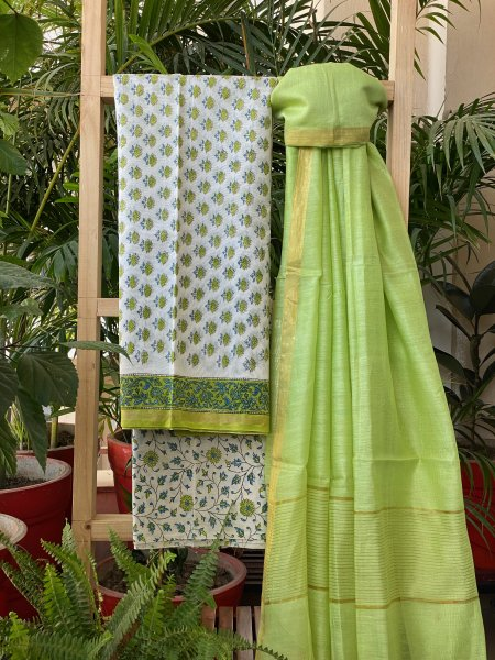 LINE GREEN - WHITE CHANDERI COTTON DUPATTA SUIT SET
