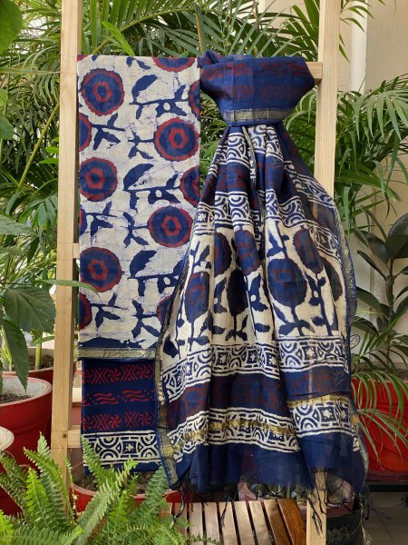 FLORAL INDIGO CHANDERI COTTON DUPATTA SUIT SET