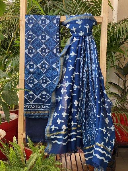 INDIGO CHANDERI DUPATTA SUIT SET