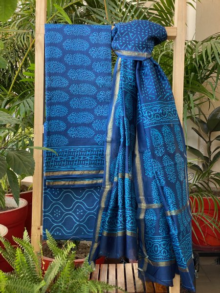 BLUE PAISLEY CHANDERI COTTON DUPATTA SUIT SET