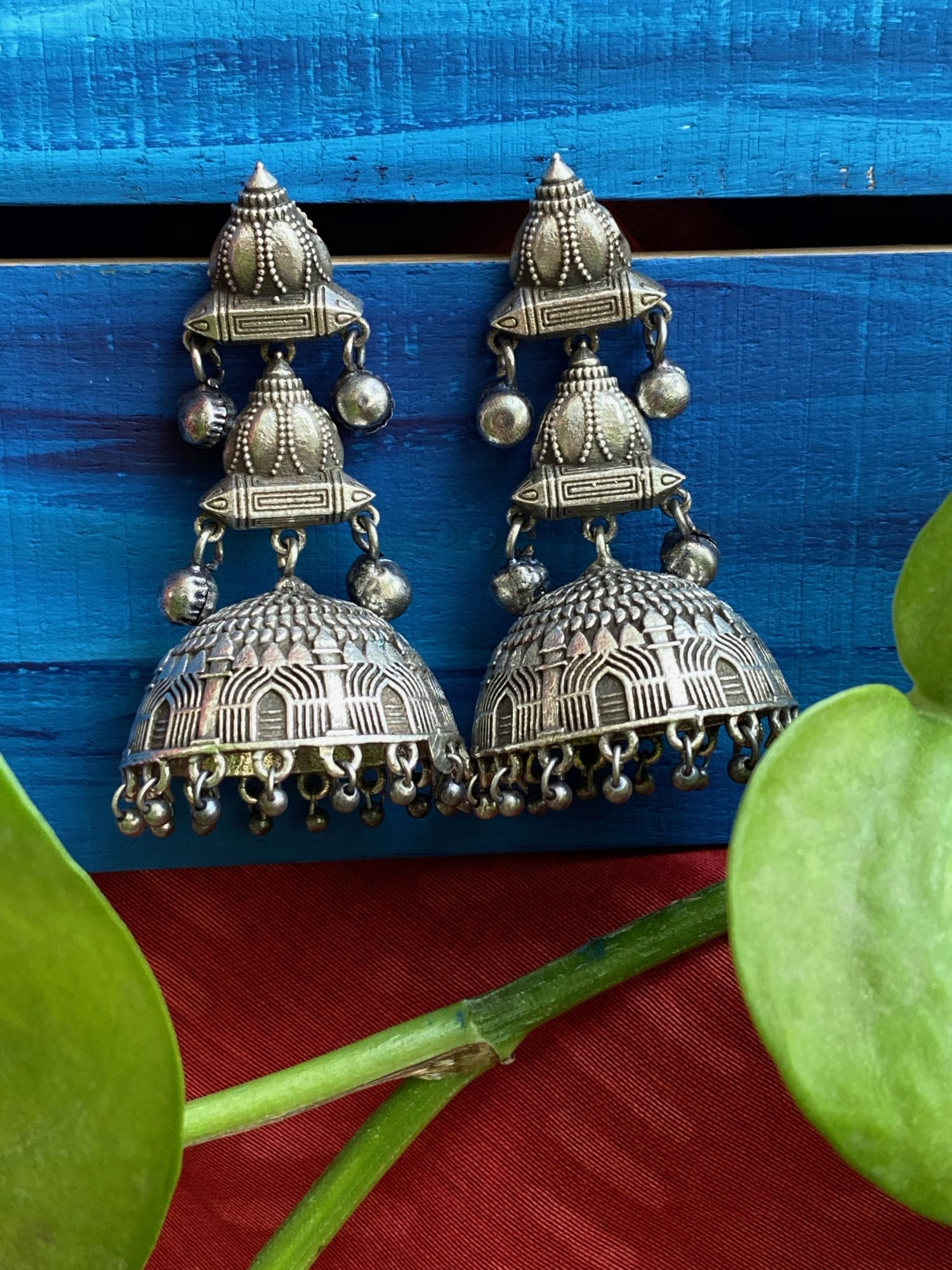 ANTIQUE EMBOSSED 3 TIER MINAR JHUMKA