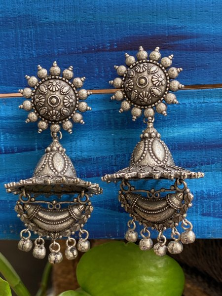ANTIQUE FULL MOON HALF MOON JHUMKA