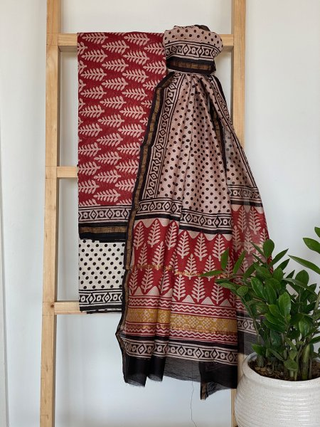 GARNET RED COTTON SILK DUPATTA SET