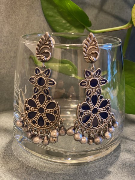 ANTIQUE BLUE MEENA JHUMKA