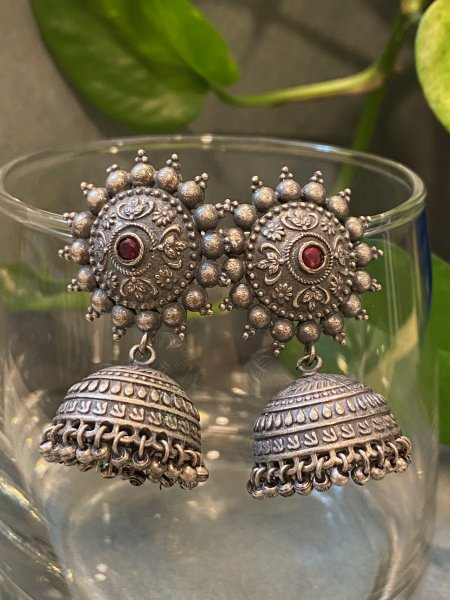 ANTIQUE SMALL RED STONE JHUMKI