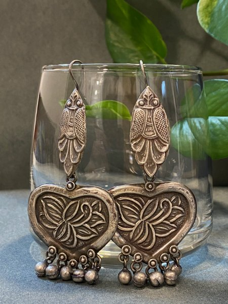 ANTIQUE BUTTERFLY HEART DANGLER