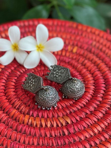 ANTIQUE FLORAL EMBOSSED  JHUMKA